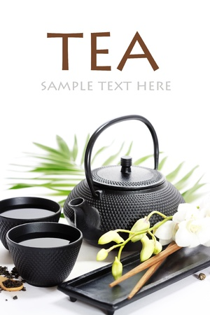 wooden insert: Asian food concept (Green tea, orchid and chopsticks) with sample text Stock Photo