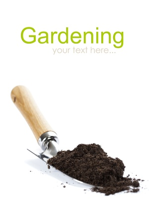 garden  shovel and soil on white background (with easy removable text) Reklamní fotografie