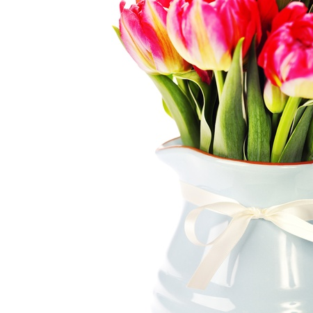 Beautiful flowers in a vase on white background photo