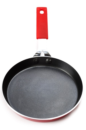 nonstick: Red frying pan with a nonstick coating