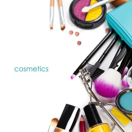 cosmetics collection: Decorative cosmetics isolated over white