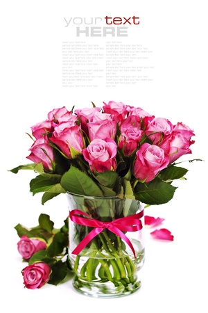 whitem: bouquet of pink roses in vase (with easy removable sample text)