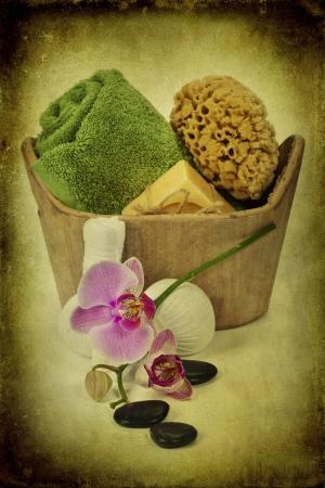 Spa bath setting over white photo
