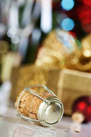 champagne cork on Christmas tree background Stock Photo - 14603516
