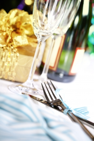 place setting on Christmas tree background Stock Photo - 14603506