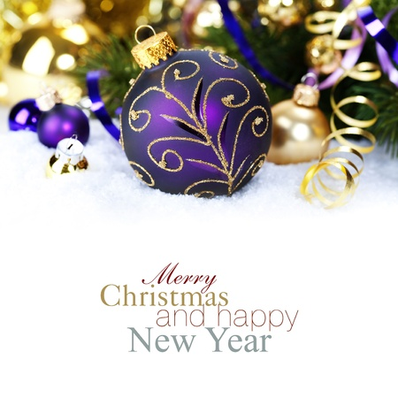 Christmas composition with snow and Christmas decoration (with sample text) photo
