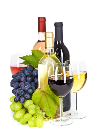 wine and dine: Fresh grape  and wine isolated on white