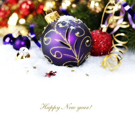 Christmas composition with snow and Christmas decoration (with sample text) Stock Photo - 15054033