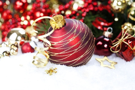 Christmas ball and Christmas tree with decorations photo