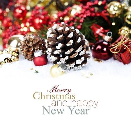 winter background: Christmas decoration with Pine Cone (with sample text) Stock Photo