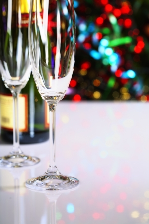 Champagne on Christmas tree background Stock Photo - 15880055