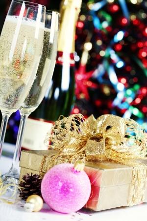 Christmas decoration on Christmas tree background Stock Photo - 15880842
