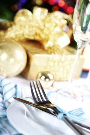 place setting on Christmas tree background Stock Photo - 15880027