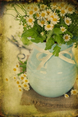 vintage paper textures with beautiful garden flowers in a vase Stock Photo - 15882227
