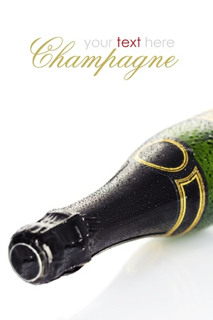Bottle of champagne over white (with easy removable text) Stock Photo - 15880089