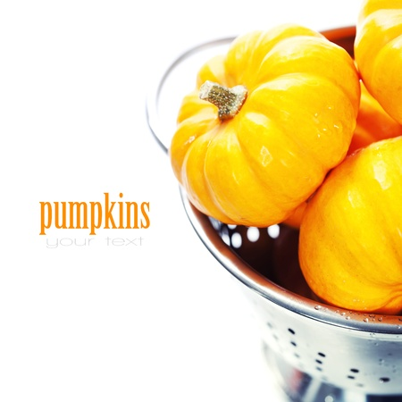 Harvested pumpkins in metal colander ovar white photo