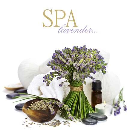 essential oil: lavender spa (fresh lavender flowers, towel, essential oil, pebbles, Herbal massage balls) over white  (with easy removable text) Stock Photo