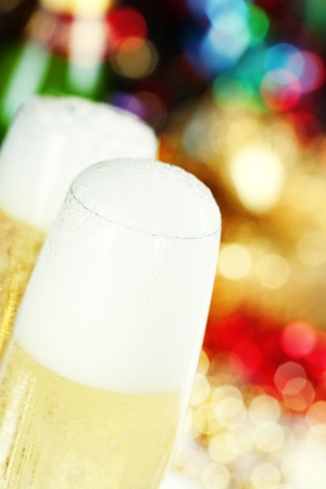 celebration champagne: Champagne on Christmas tree background