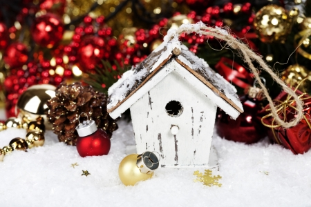 Christmas decoration with Rustic Bird House photo