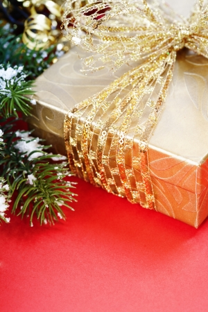 Christmas composition with gift box and decorations photo
