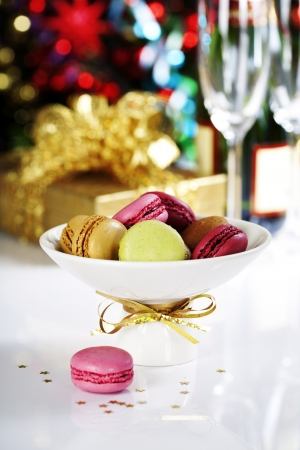Colorful macaroons on Christmass tree background Stock Photo - 16827045