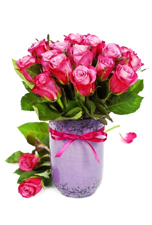 whitem: bouquet of pink roses in vase Stock Photo