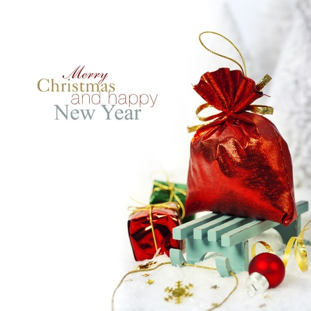 Bright christmas composition with sledge (with easy removable sample text) Stock Photo - 16826965