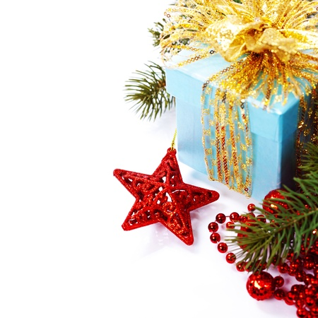 christmas card background: Christmas composition with gift box and decorations