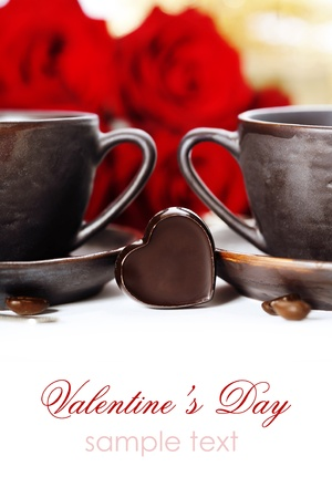 red roses and coffee for Valentines Day (with sample text) photo