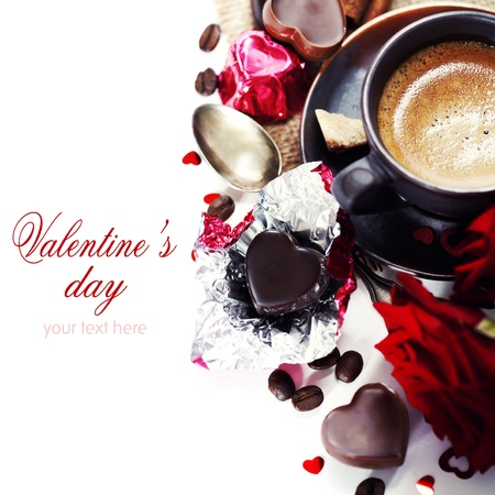 valentine day cup of coffee: red roses, coffee  and chocolate hearts for Valentines Day (with sample text)