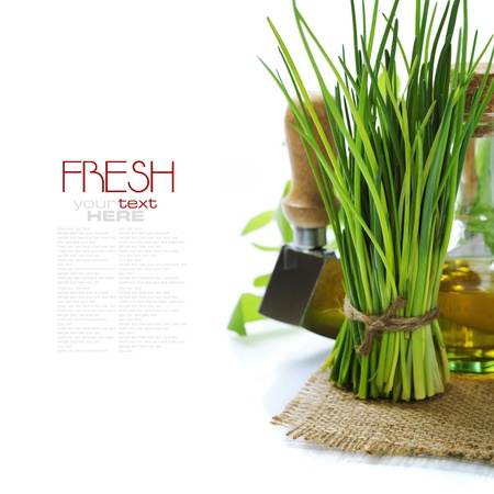 A bunch of fresh chives and olive oil over white (with easy removable text) photo