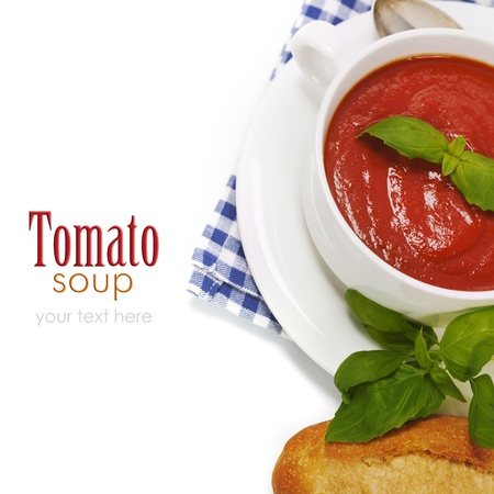 removable: Traditional tomato soup and ingredients (with easy removable sample text)