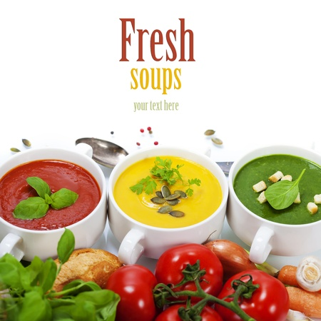 hot soup: Three soaps are located in the form of a traffic light (with easy removable sample text)