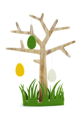 Plastik: easter tree with eggs and grass