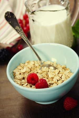 bowl of oat flake, berries and fresh milk on white background - health and diet concept photo