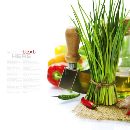 healthy living: A bunch of fresh chives and vegetables over white (with easy removable text)