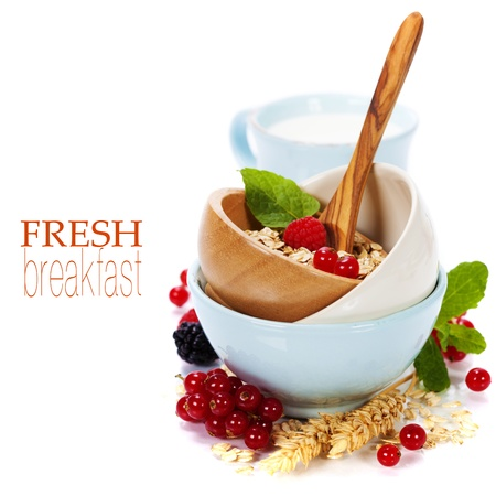 bowl of oat flake, berries and fresh milk on white background - health and diet concept (with easy removable sample text) photo