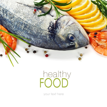 the dorada: fresh seafood and vegetables over white (with easy removable sample text) Stock Photo