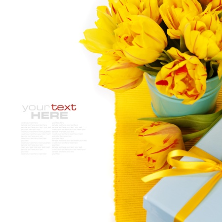 yellow tulips and gift box (with easy removable text) photo