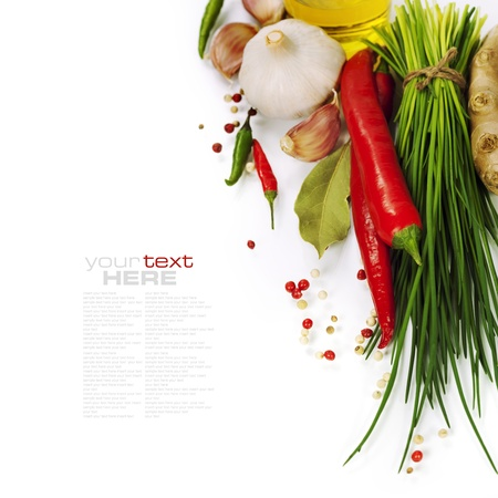 seasonings: A bunch of fresh chives and vegetables over white (with easy removable text)