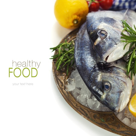 food fish: fresh seafood and vegetables on ice - food and drink (with easy removable sample text)
