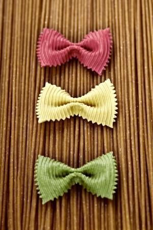 colord: whole wheat spaghetti and Farfalle pasta
