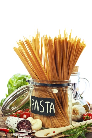 whole wheat spaghetti with ingredients photo
