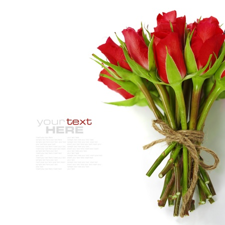 Bouquet of roses on white background (with easy removable text) photo