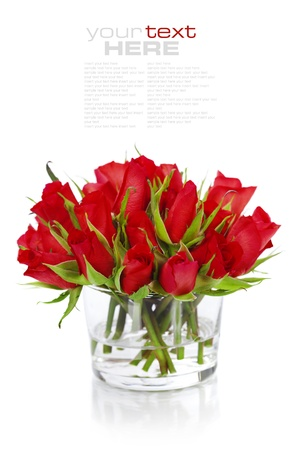 Beautiful red roses in a vase isolated on white  (with easy removable text) photo