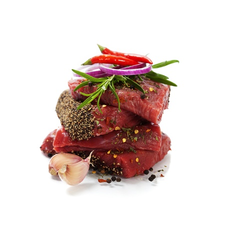 pork chop: Raw beef steak over white