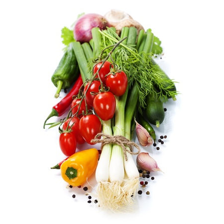 fresh vegetables: fresh vegetables on the white background - healthy or vegetarian eating concept