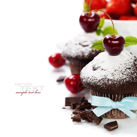 chocolate mint: fresh chocolate muffins with cherry. With easy removable sample text