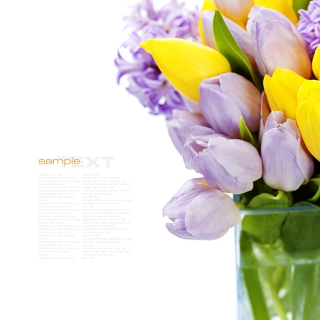 Beautiful spring flowers in vase over white (with easy removable sample text) photo