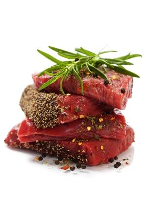 beef steak: Raw beef steak over white